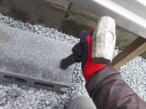 ブロックを叩く