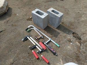 クランプ4個とブロック2個